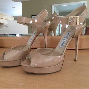 JIMMY CHOO Linda Platform Sandal Nude Size 40